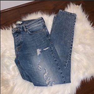 Topman Size 32R Distressed Skinny Jeans
